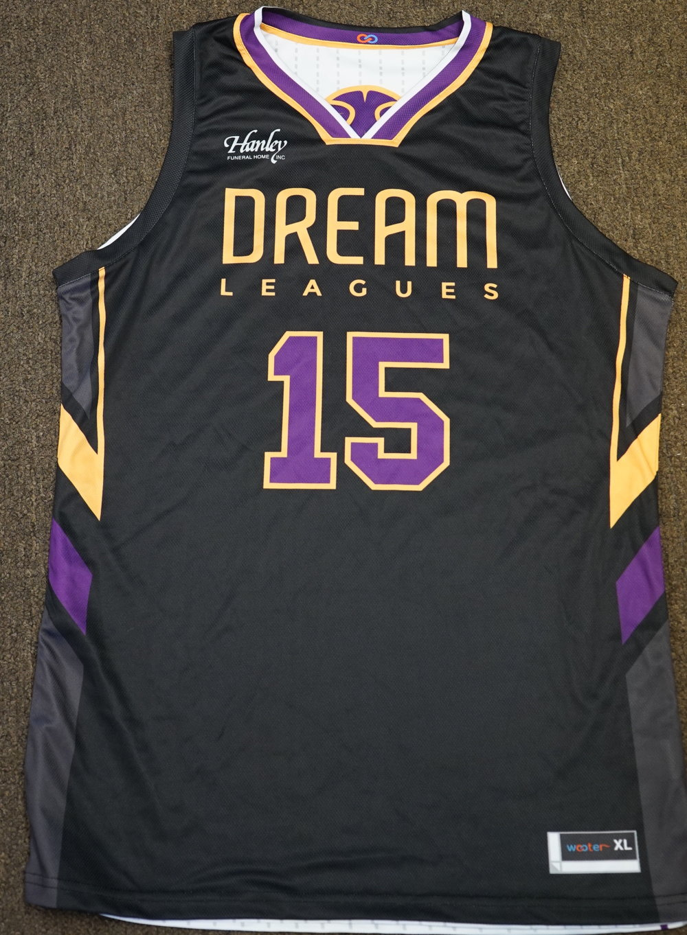 DREAM LEAGUES White Purple Black and Yellow Basketball Uniforms, Jerseys