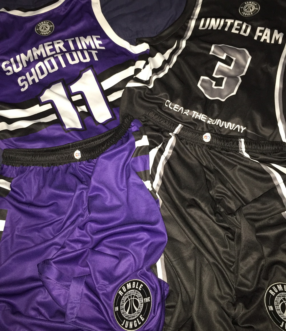 SUMMER TIME SHOOTOUT Purple White Black and Grey Basketball Uniforms, Jersey and Pants