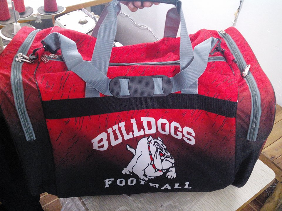BULLDOGS Red Grey White and Black Baseball Basketball, Bags
