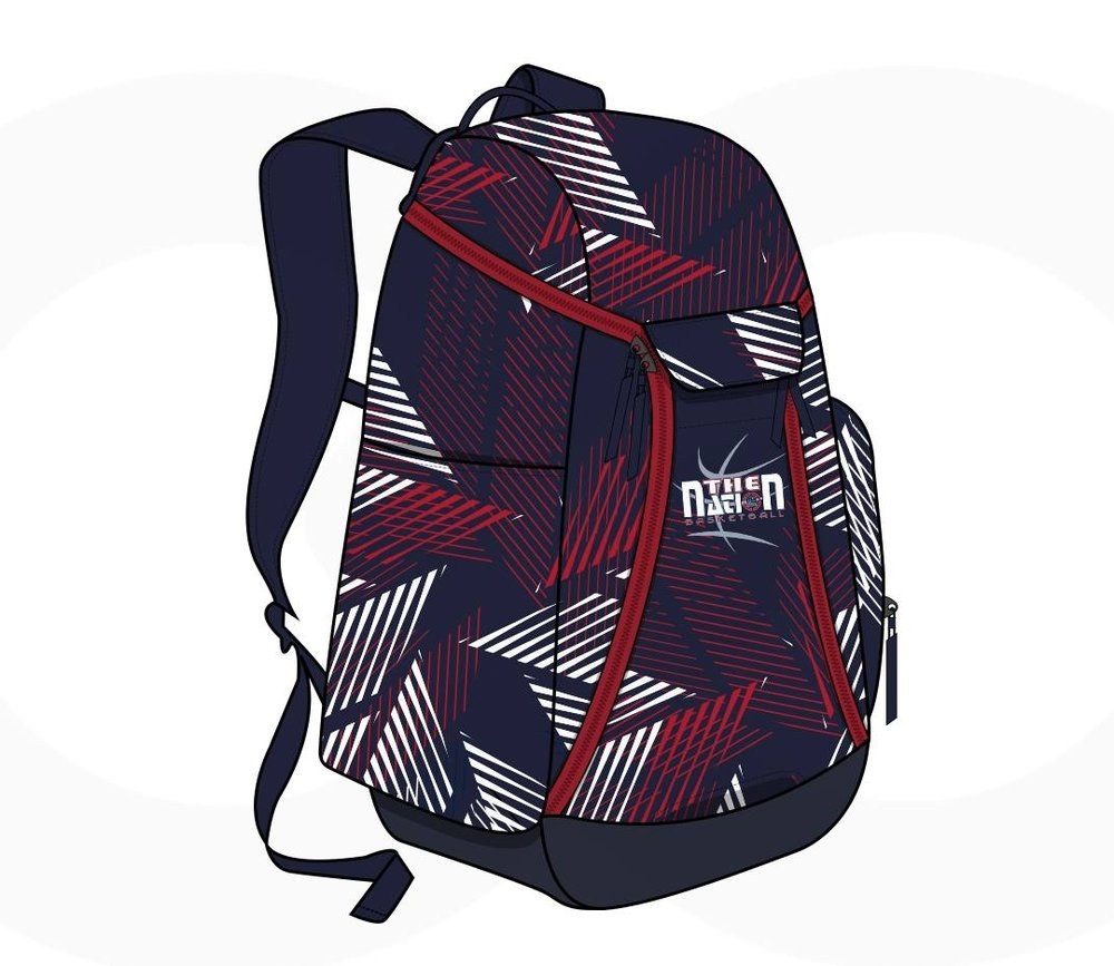 Black White Red and Navy blue Baseball Uniforms, Backpacks