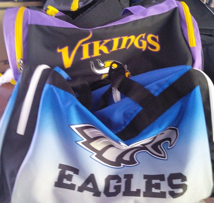 EAGLES White Black Sky Blue Purple and Yellow Baseball Uniforms, Backpacks