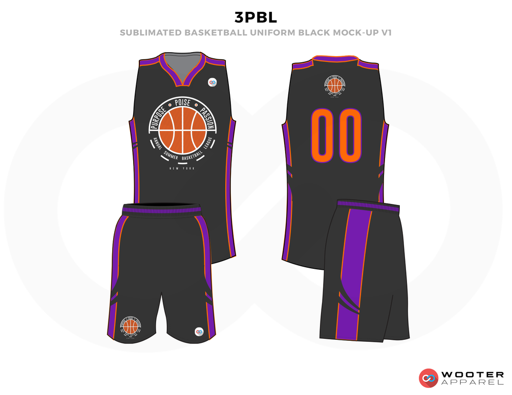 3PBL Black Orange and Purple Basketball Uniforms, Jersey and Shorts