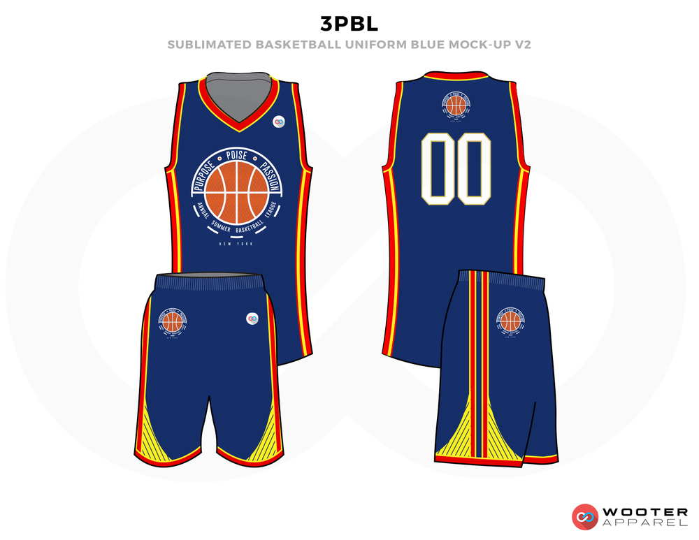 3PBL Blue Red Orange and Yellow Basketball Uniforms, Jersey and Shorts