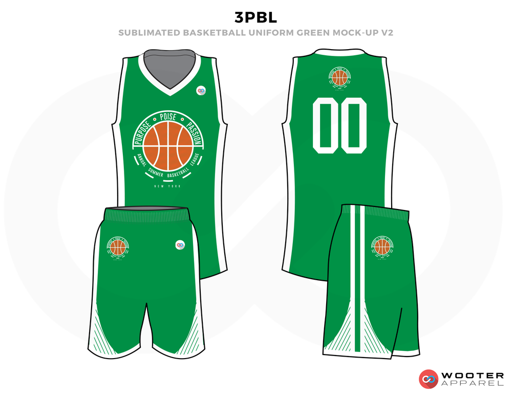 3PBL Green White and Orange Basketball Uniforms, Jersey and Shorts