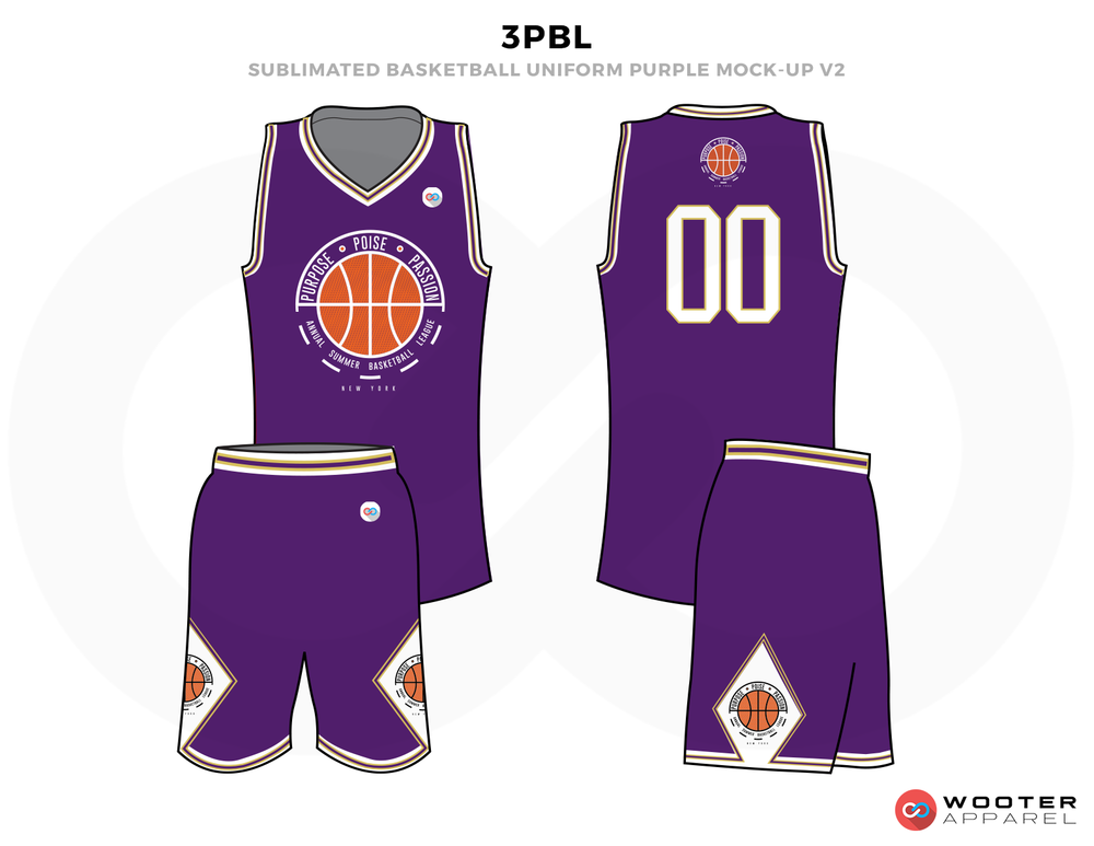 3PBL Purple White and Orange Basketball Uniforms, Jersey and Shorts