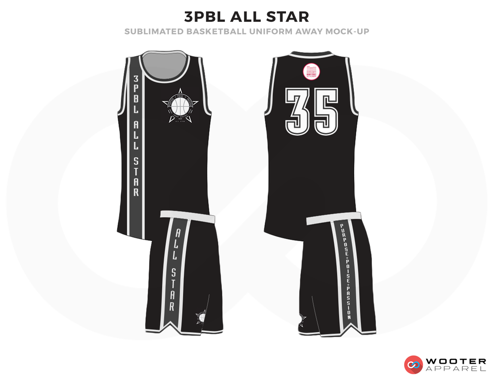 3PBL ALLL STAR Black and White Basketball Uniforms, Jersey and Shorts