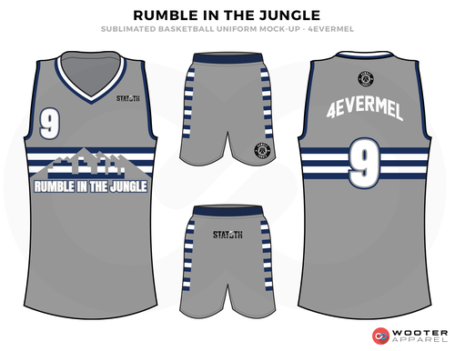 6eed24ec4aa0 RUMBLE IN THE JUNGLE Grey Blue and White Basketball Uniforms