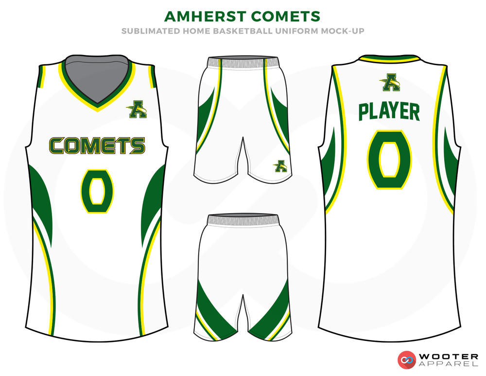 AMHERST COMETS White Green and Yellow Basketball Uniforms, Jersey and Shorts