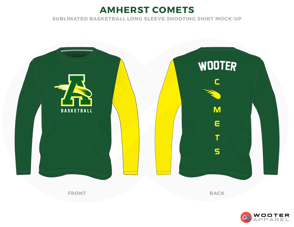 AMHERST COMETS Green Yellow and white Basketball Uniforms, Jersey