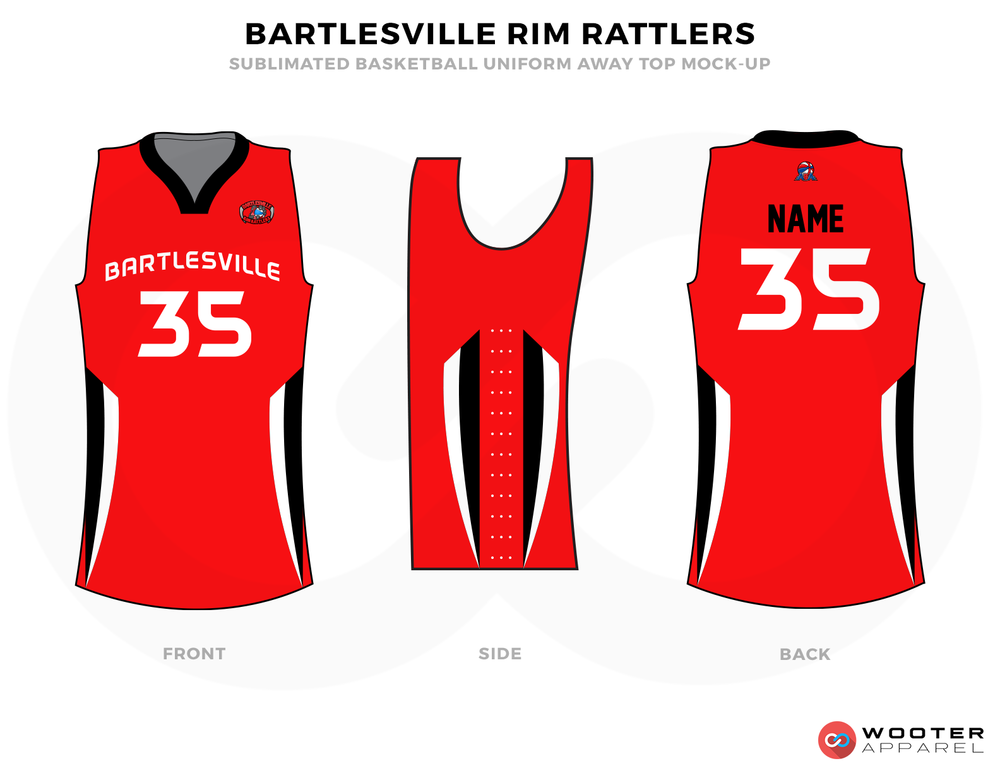 BARTLESVILLE RIM RATTLERS Red Black and White Basketball Uniforms, Jersey