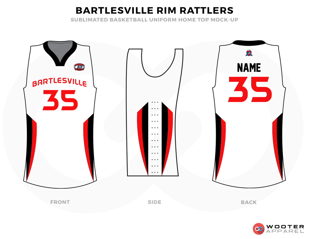 BARTLESVILLE RIM RATTLERS White Black and Red Basketball Uniforms, Jersey