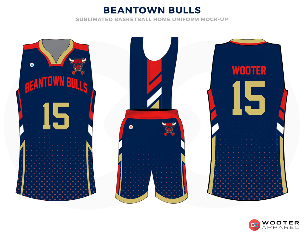 BEANTOWN BULLS Blue Red Gold and White Basketball Uniforms, Jersey and Shorts
