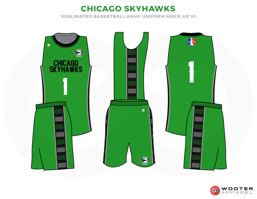CHICAGO SKYHAWKS Green Black Grey and White Basketball Uniforms, Jersey and Shorts