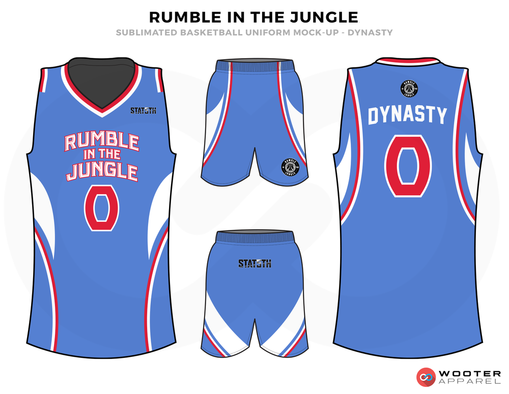 RUMBLE IN THE JUNGLE Blue Red and White Basketball Uniforms, Jersey and Shorts