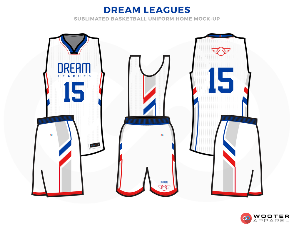 DREAM LEAGUE White Blue and Red Basketball Uniforms, Jersey and Shorts