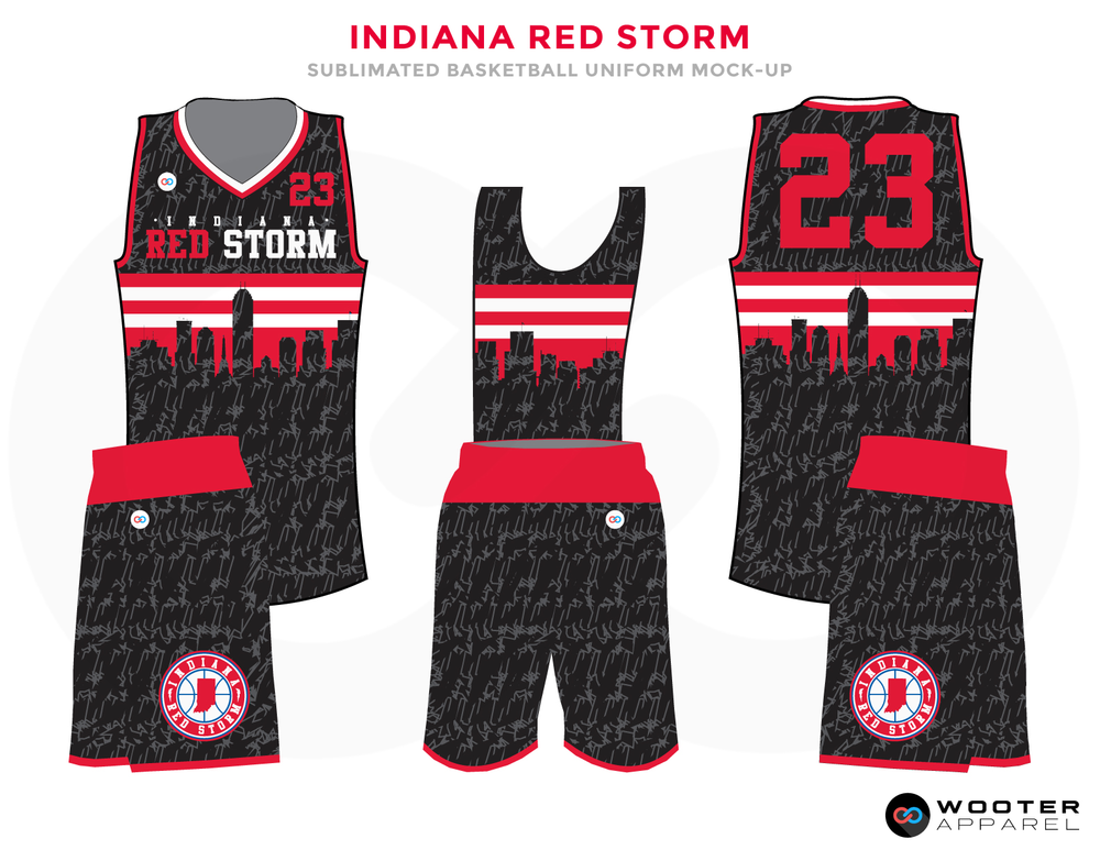 INDIANA RED STORM Black Red and White Basketball Uniforms, Jersey and Shorts