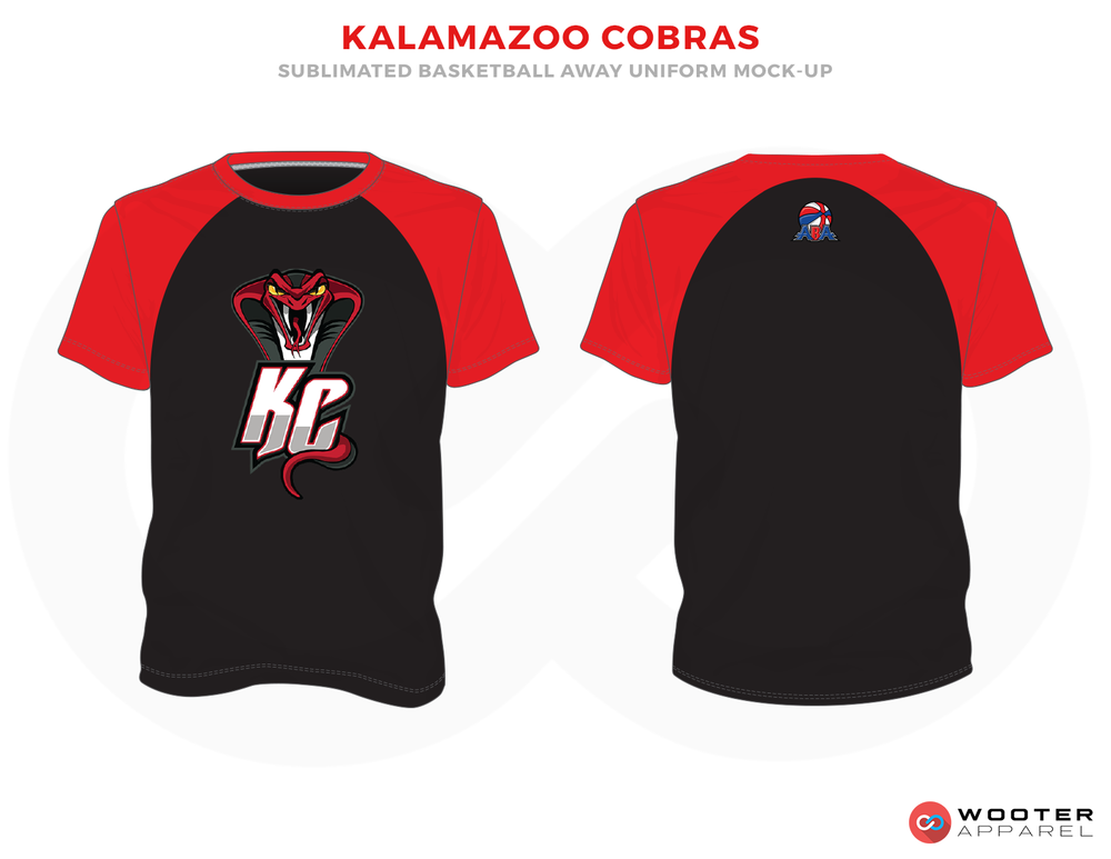 KALAMAZOO COBRAS Black Red and White Basketball Uniforms, Jersey
