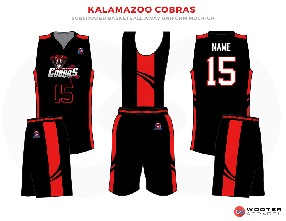 KALAMAZOO COBRAS Black Red and White Basketball Uniforms, Jersey and Shorts