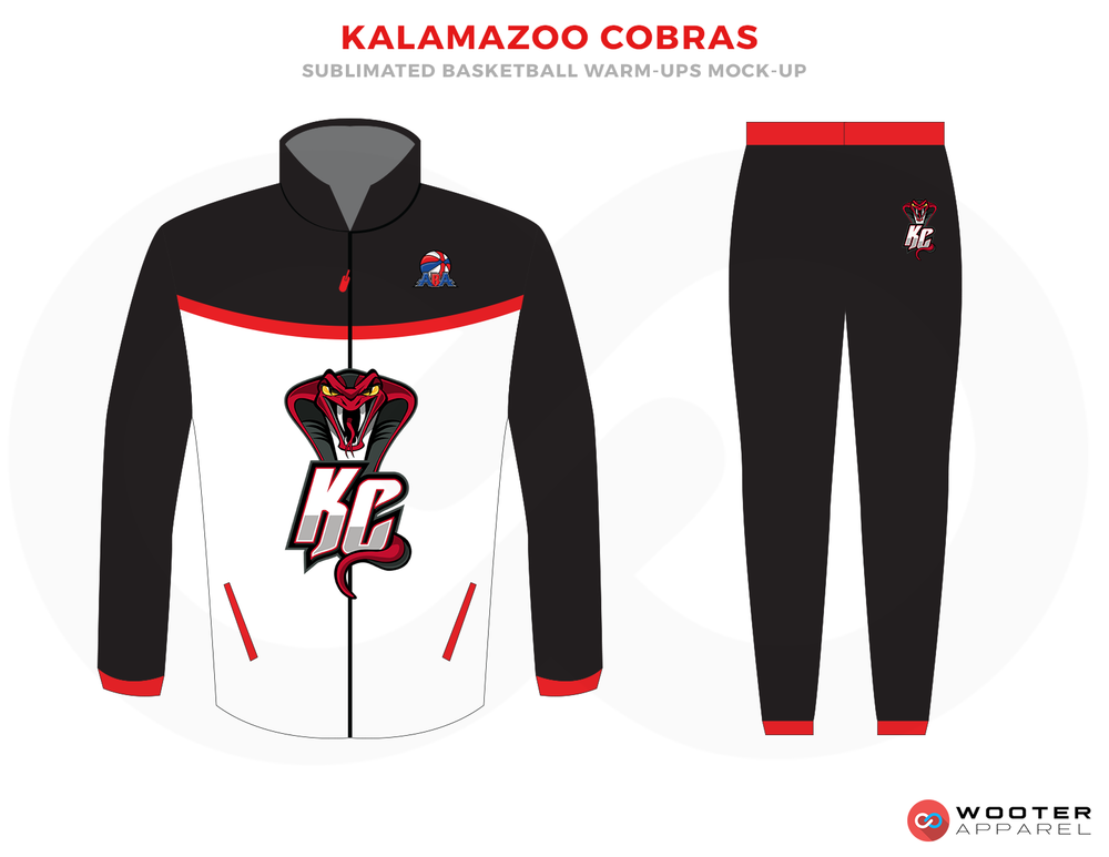 KALAMAZOO COBRAS White Black and Red Basketball Uniforms, Pants and Jackets