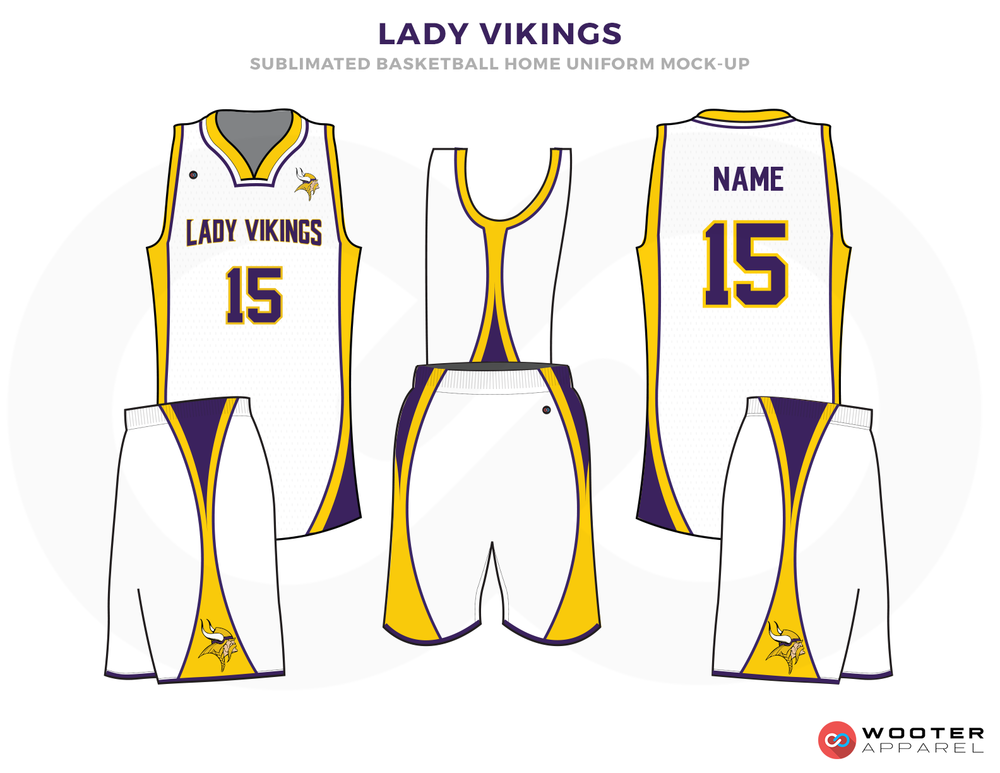 LADY VIKINGS White Yellow and Purple Basketball Uniforms, Jersey and Shorts