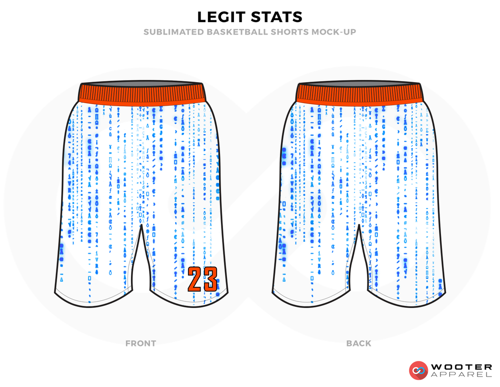 LEGIT STATS White Blue and Orange Basketball Uniforms, Shorts