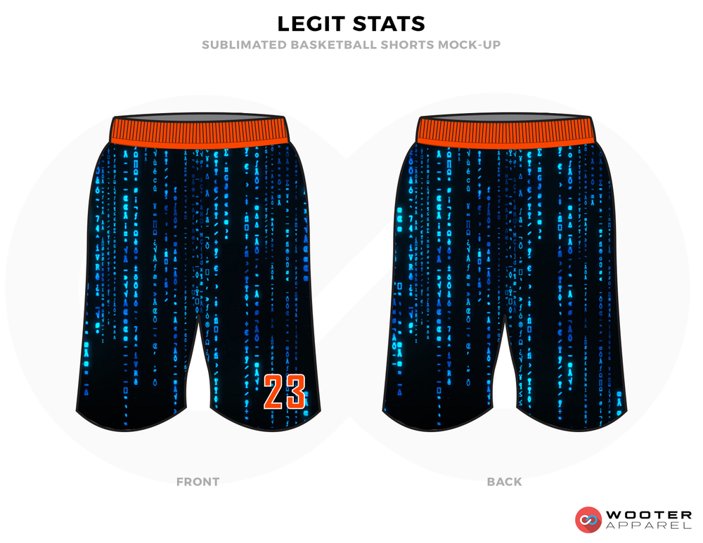 LEGIT STATS Black Blue and Orange Basketball Uniforms, Shorts