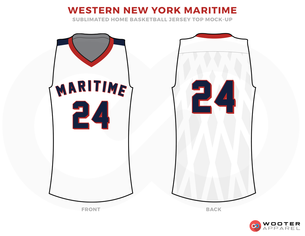 WESTERN NEW YORK MARITIME White Blue and Red Basketball Uniforms, Jersey