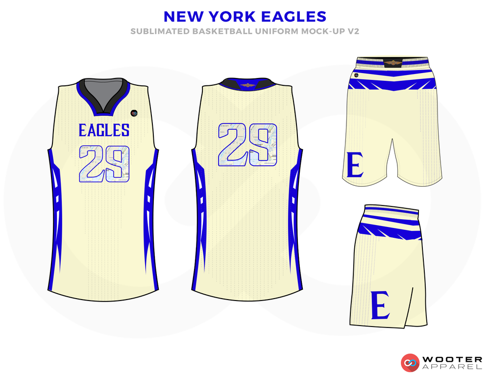 NEW YORK EAGLES Light Yellow Blue and White Basketball Uniforms, Jersey and Shorts