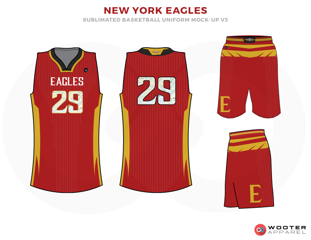 NEW YORK EAGLES Red Yellow White and Black Basketball Uniforms, Jersey and Shorts