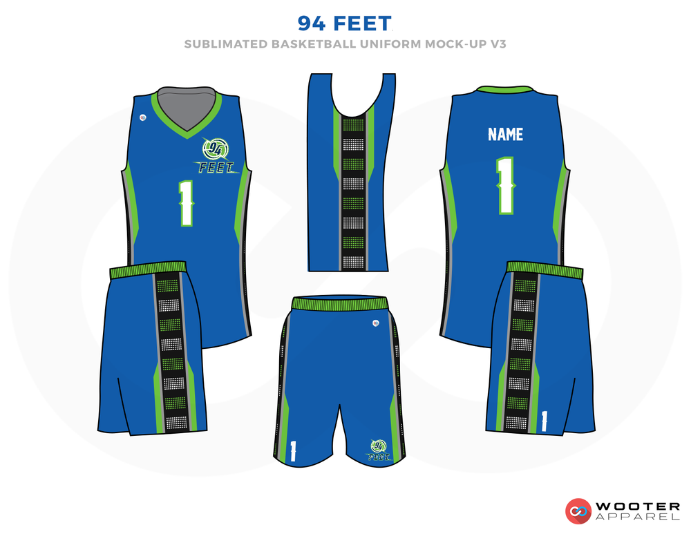 94 FEET Blue White Green grey and Black Basketball Uniforms, Jersey and Shorts
