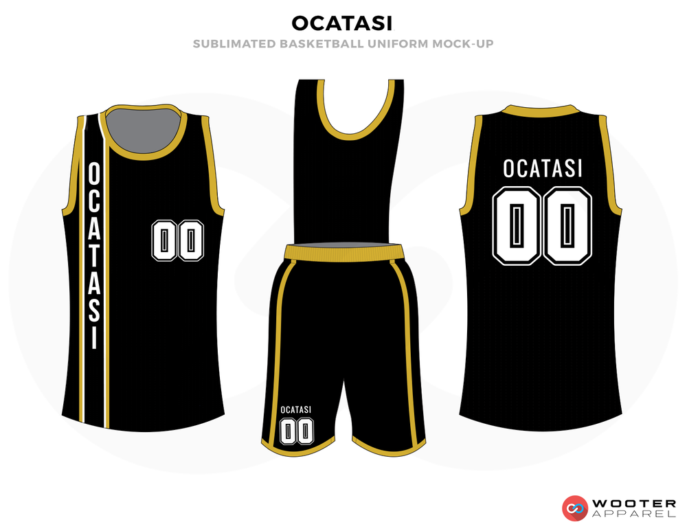OCTASI Black Yellow and White Basketball Uniforms, Jersey and Shorts