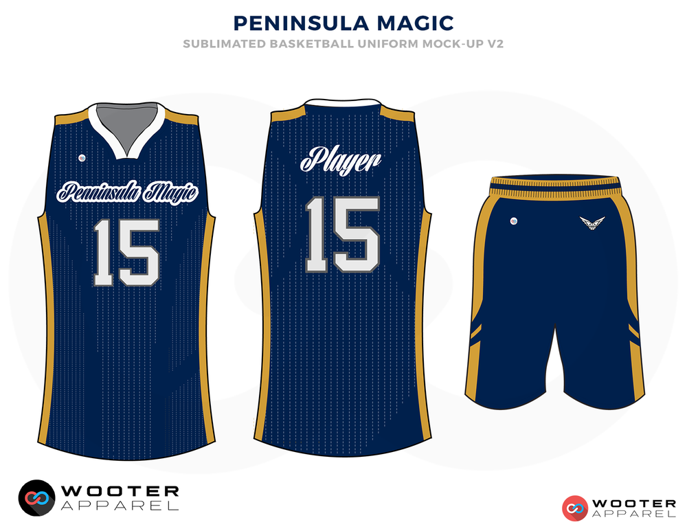 PANINDULA MAGIC Blue Golden and White Basketball Uniforms, Jersey and Shorts