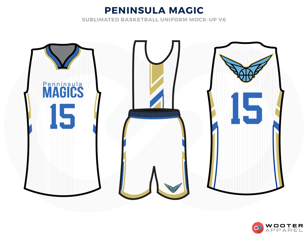 PENINSULE MAGIC White Blue Yellow and Grey Basketball Uniforms, Jersey and Shorts