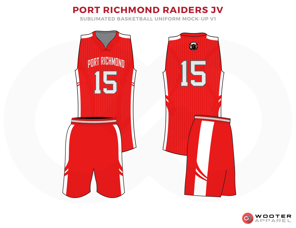 PORT RICHMOND RAIDERS JV Red Grey and White Basketball Uniforms, Jersey and Shorts