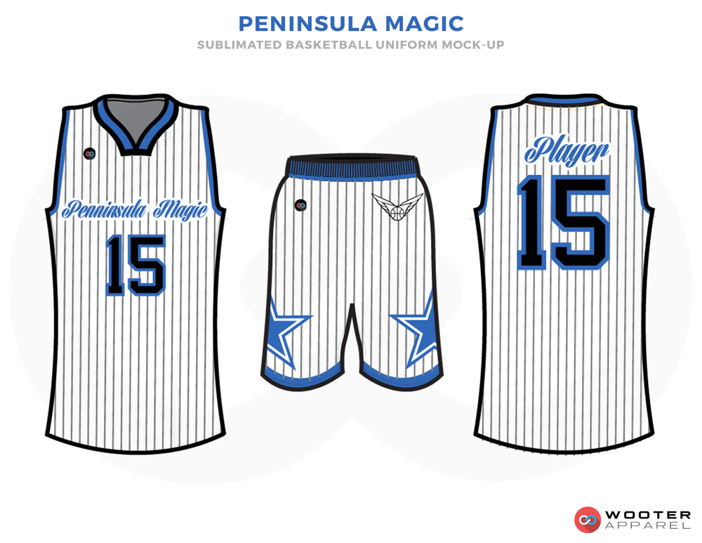 PENINSiLE MAGIC White Blue and Black Basketball Uniforms, Jersey and Shorts