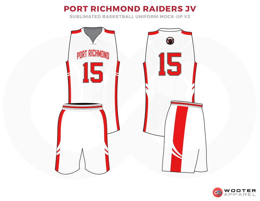 PORT RICHMOND RAIDERS JV White Red and Grey Basketball Uniforms, Jersey and Shorts