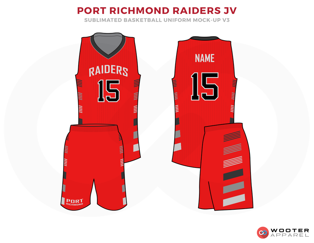 PORT RICHMOND RAIDERS JV Red White Grey and Black Basketball Uniforms, Jersey and Shorts