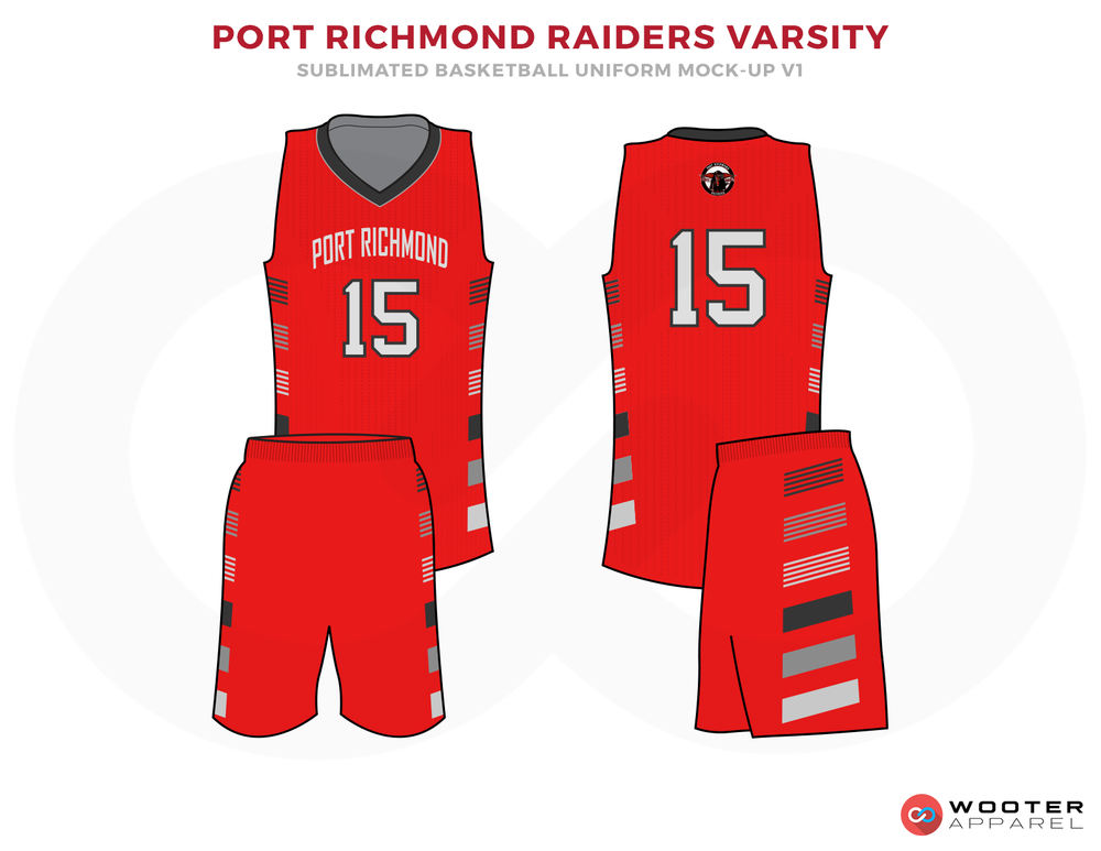 PORT RICHMOND RIDERS VARSITY Red Grey and White Basketball Uniforms, Jersey and Shorts