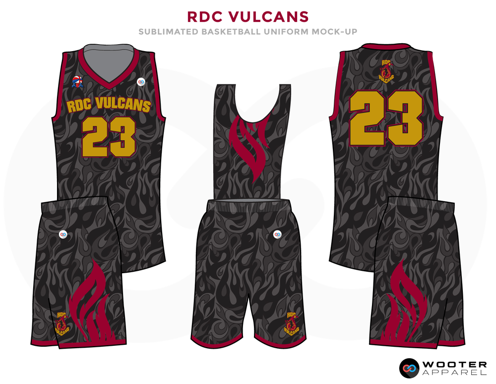 RDC YULCANS Black Grey Red and Golden Basketball Uniforms, Jersey and Shorts