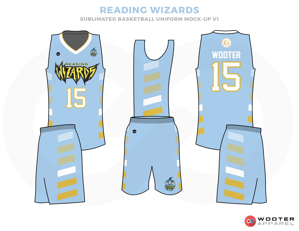 READING WIZARDS Light Blue White and Yellow Basketball Uniforms, Jersey and Shorts