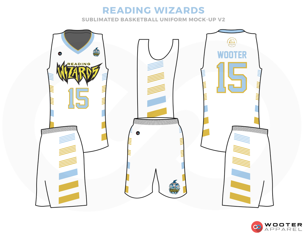 READING WIZARDS White Lighe Blue and Yellow Basketball Uniforms, Jersey and Shorts
