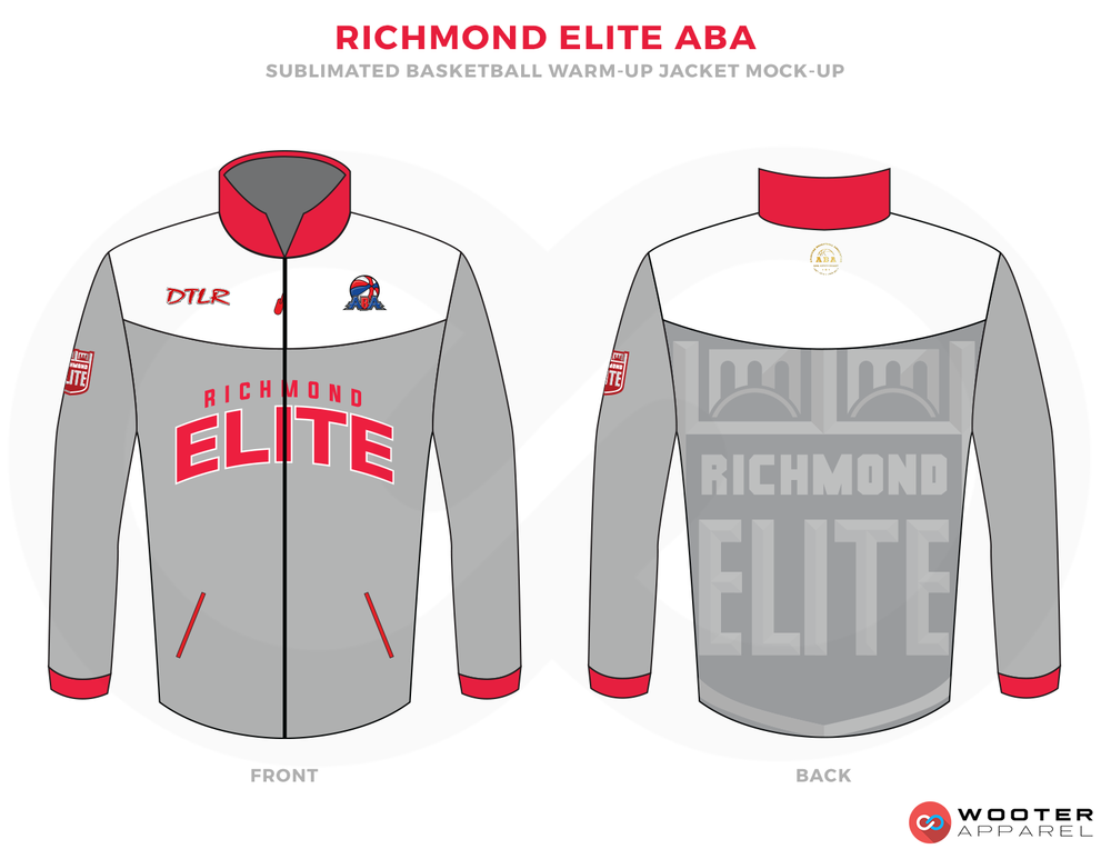 RICHMOND ELITE ABA Grey White and Red Basketball Uniforms, Jersey