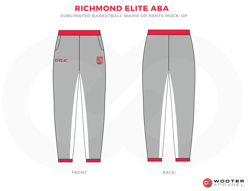 RICHMOND ELITE ABA Grey Red and White Basketball Uniforms, Pants
