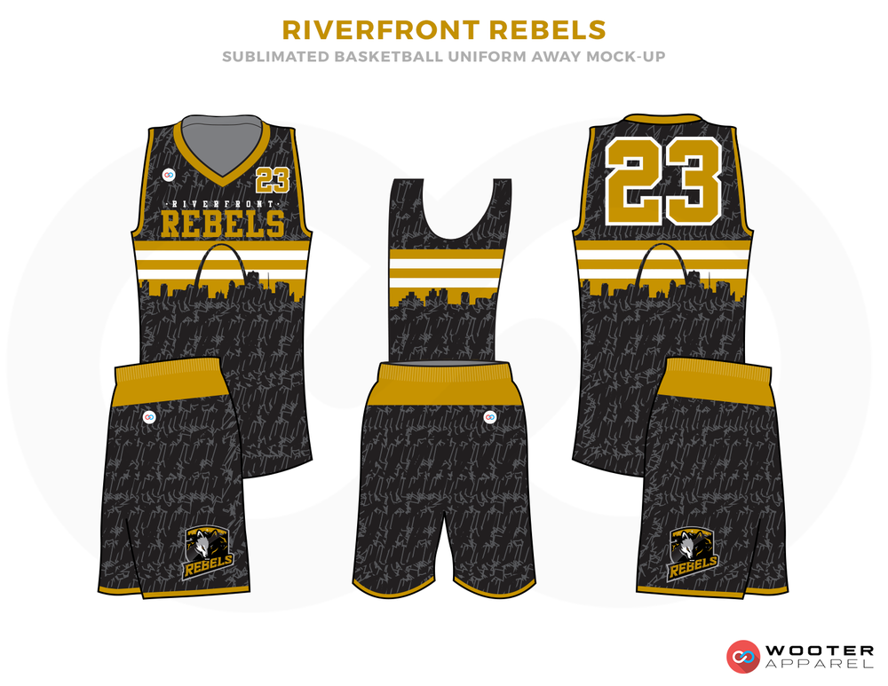 RIVERFRONT REBELS Black White and Yellow Basketball Uniforms, Jersey and Shorts