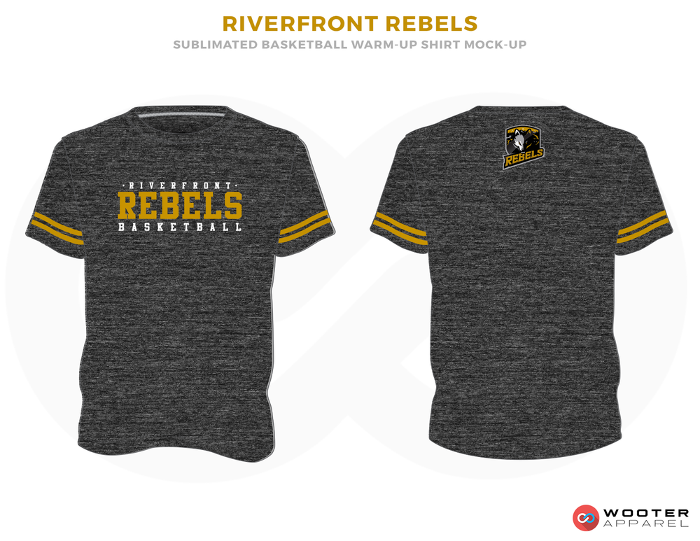 RIVERFRONT REBLES Black White and Yellow Basketball Uniforms, Jersey