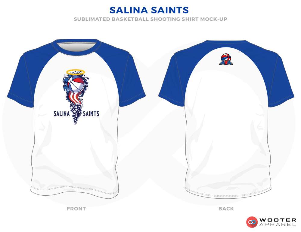 SALINA SAINTS  White Blue Yellow and Red  Basketball Uniforms, Shirts