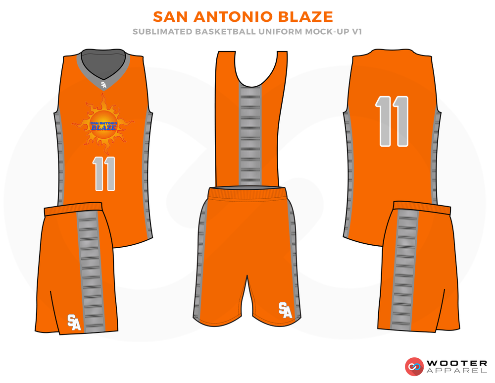 SAN ANTONIO BLAZE Oringe and Grey Basketball Uniforms, Jersey and shorts