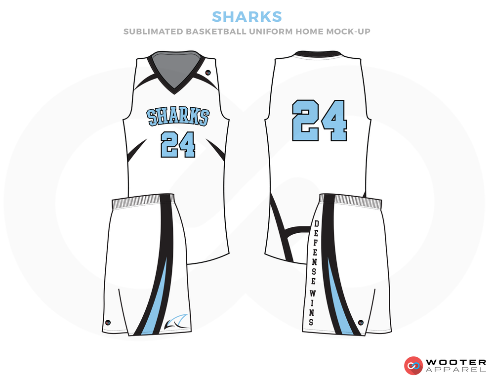 SHARKS White Blue and Black  Basketball Uniforms, Jersey and shorts