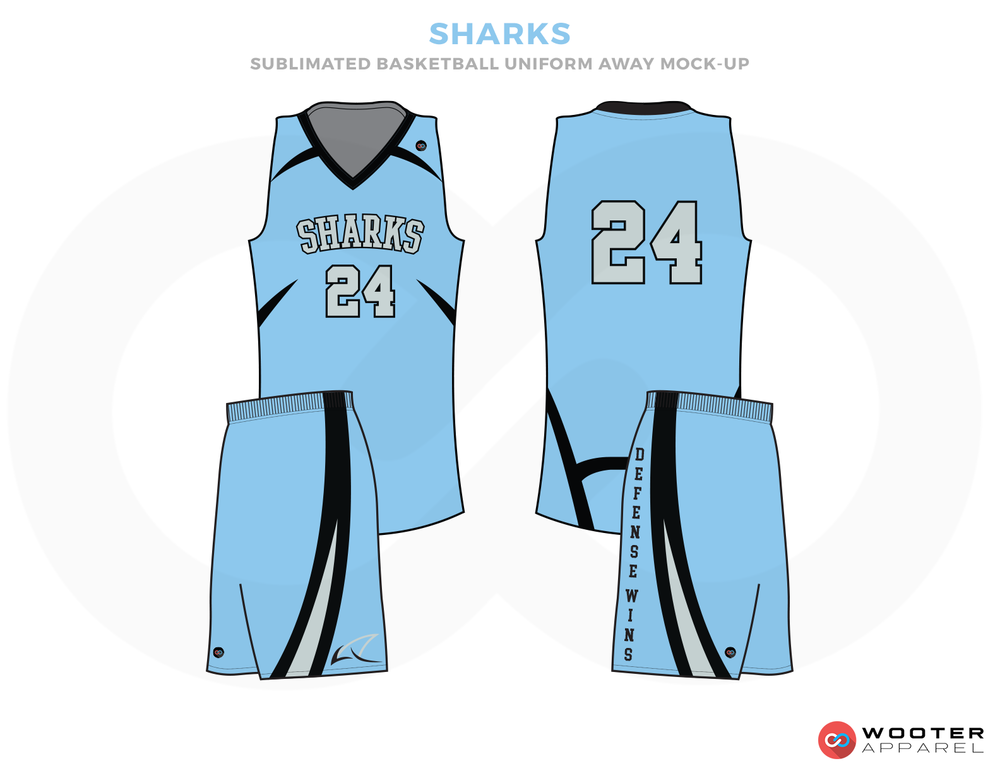 SHARKS Blue Black and White Basketball Uniforms, Jersey and shorts