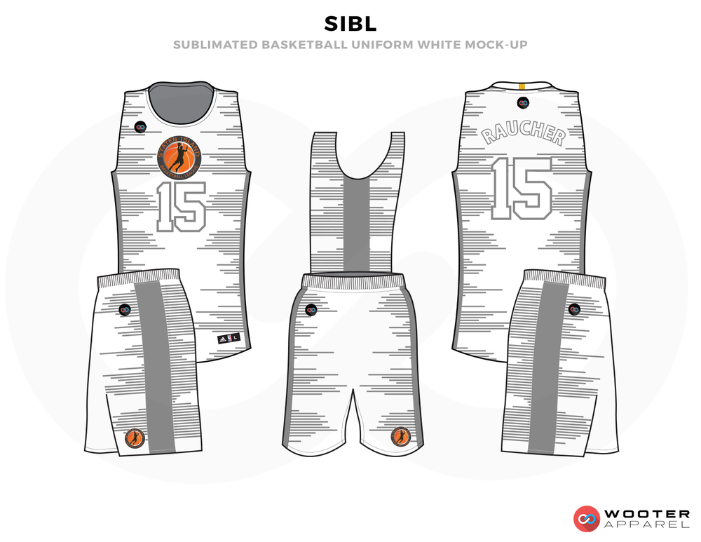 SLBL Grey White Black and Orange Basketball Uniforms, Jersey and Shorts